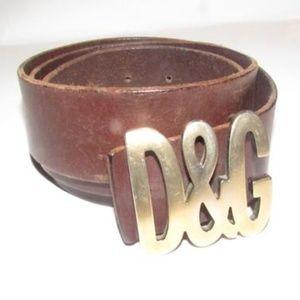 Dolce & Gabbana Brown W/Brass D&G Logo Unisex Belt